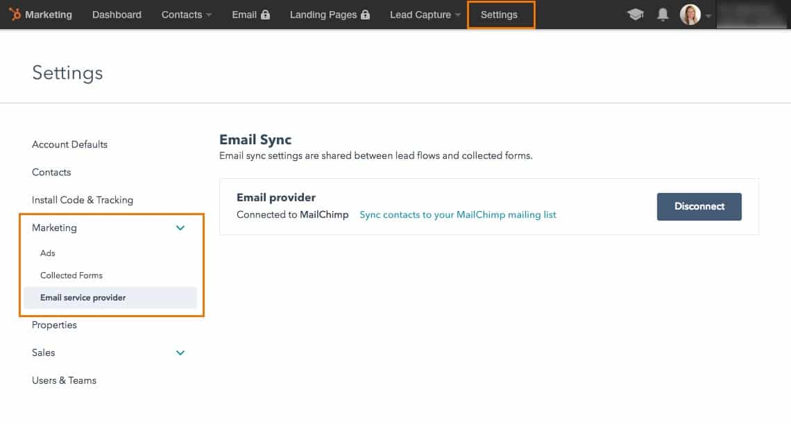 HubSpot email sync with mail chimp setup