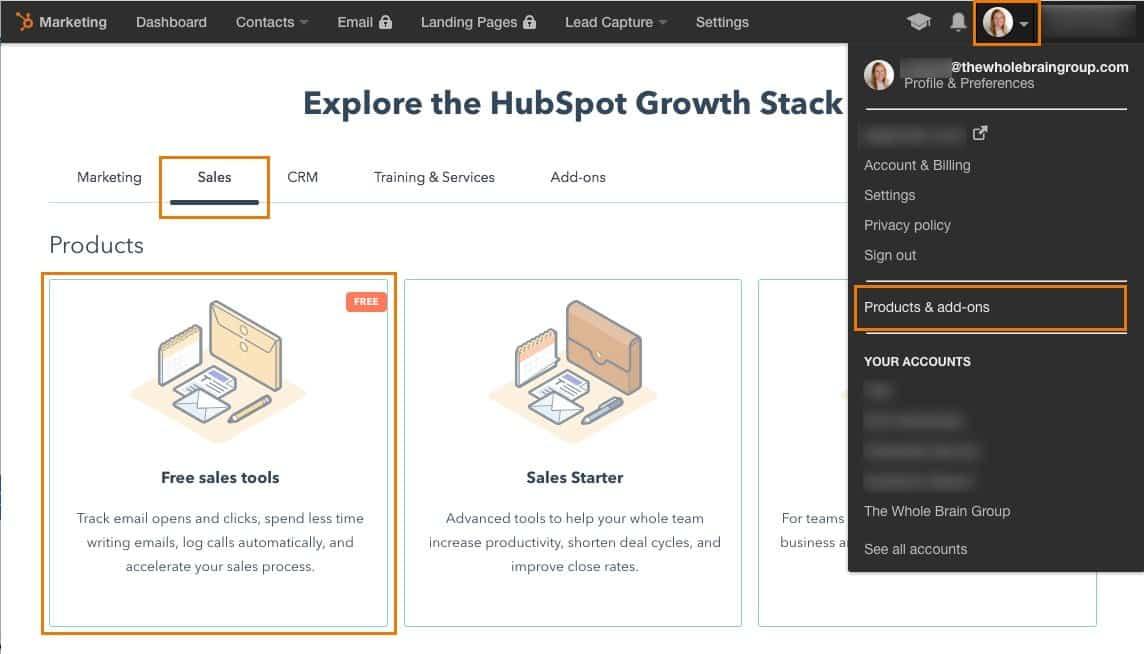 HubSpot sales tool setup