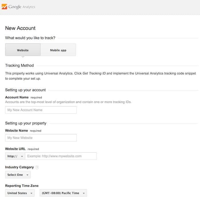 screenshot of Google Anaylitics setup screen