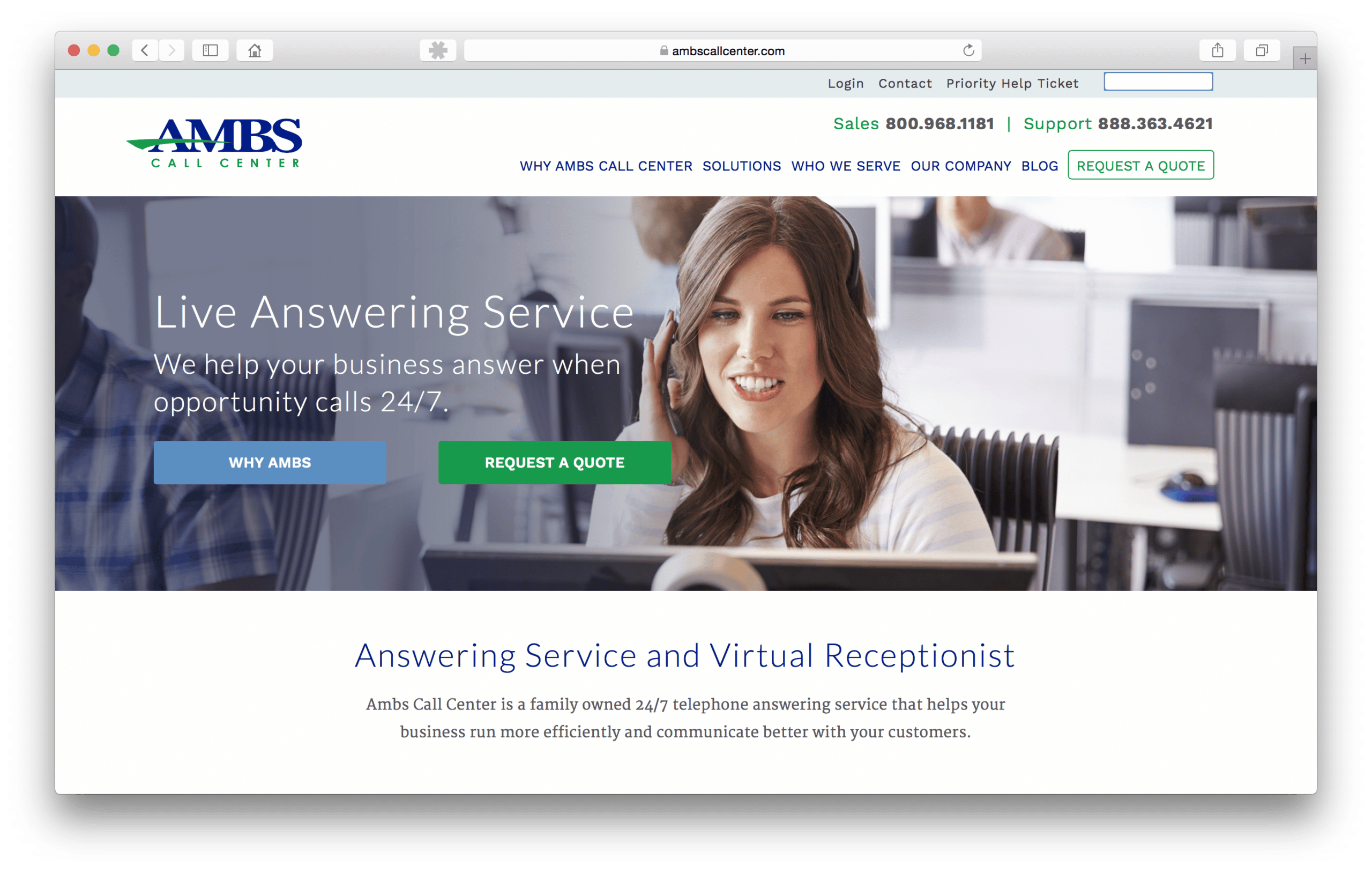 EXAMPLE: Ambs Call Center