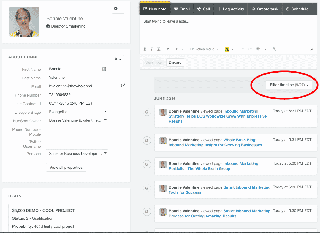 screenshot of the HubSpot CRM with filtered timeline