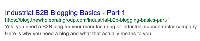 Industrial B2B Blogging Basics - Part 1 Google Snippet