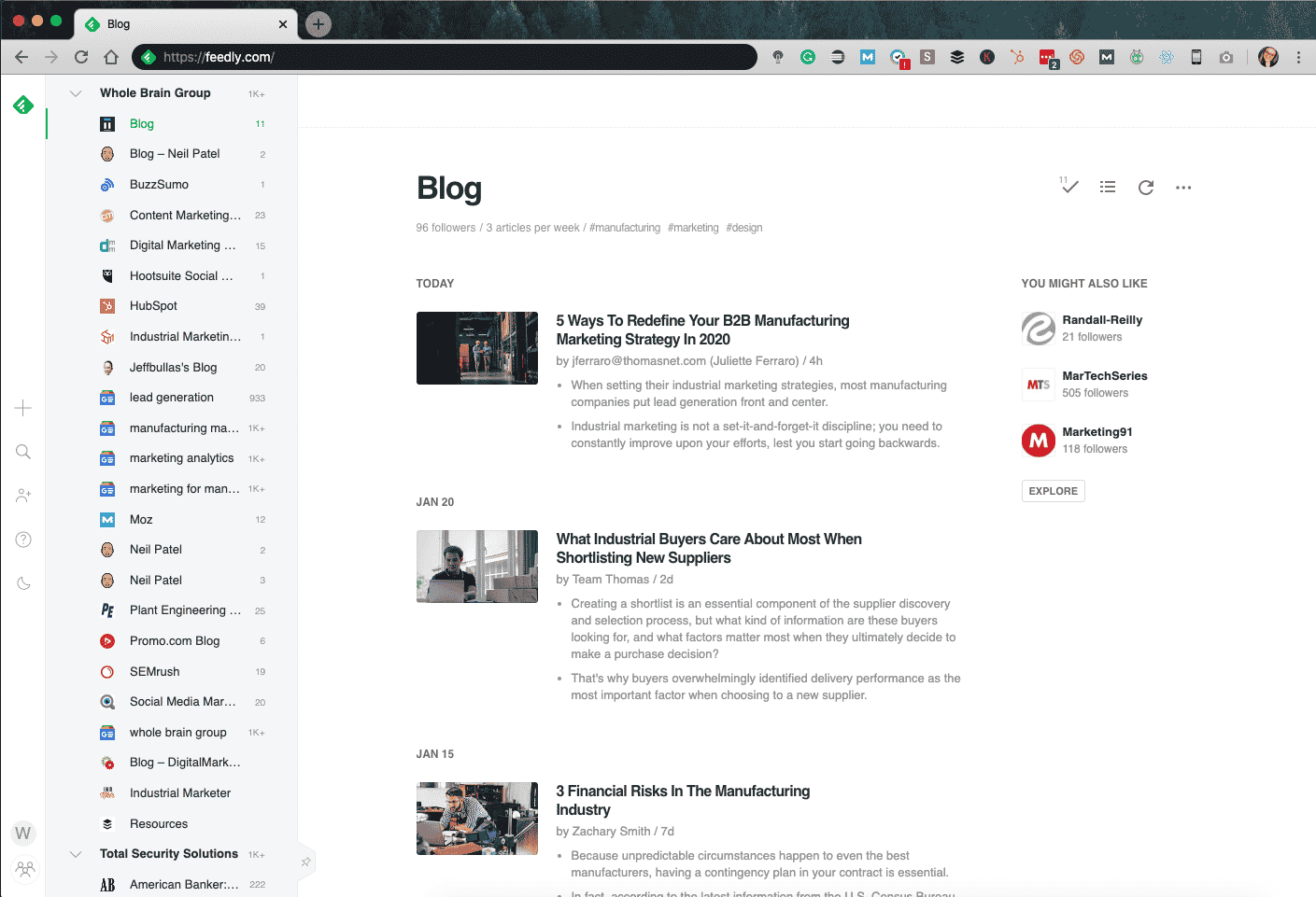 A look at what the Feedly tool looks like in use