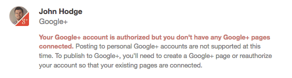 Google+ profile error
