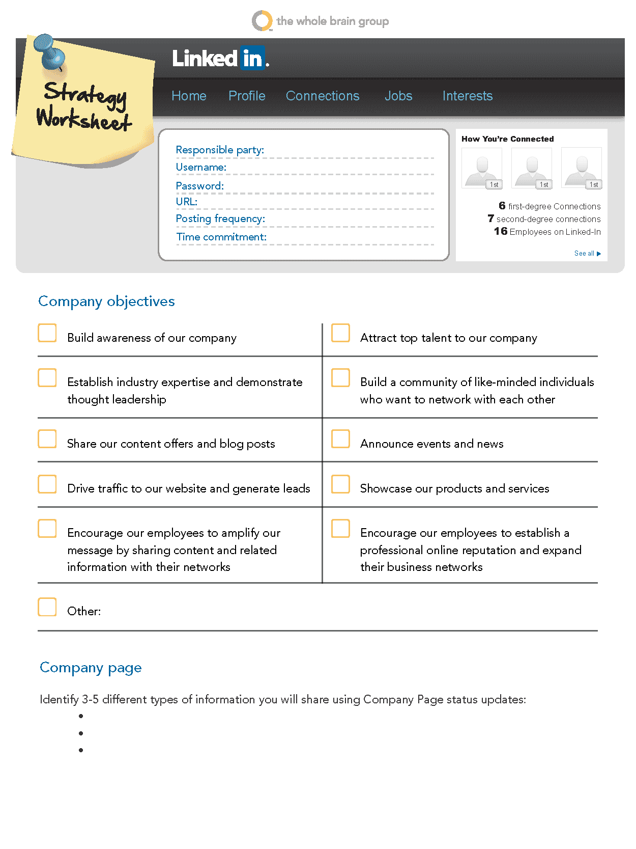 LinkedIn Strategy Worksheet - Page 1