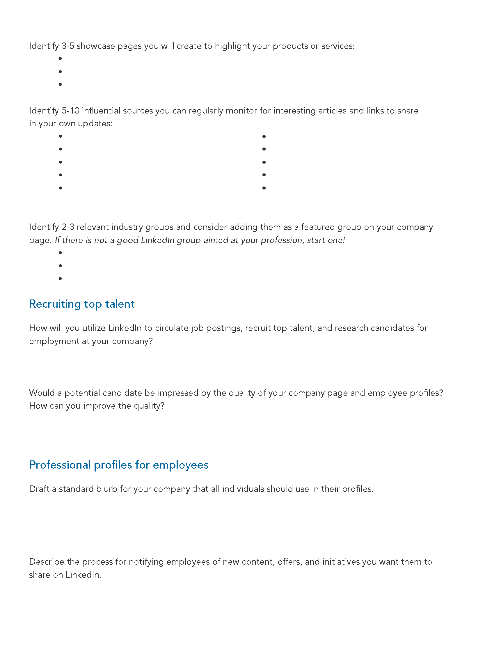 LinkedIn Strategy Worksheet - Page 2