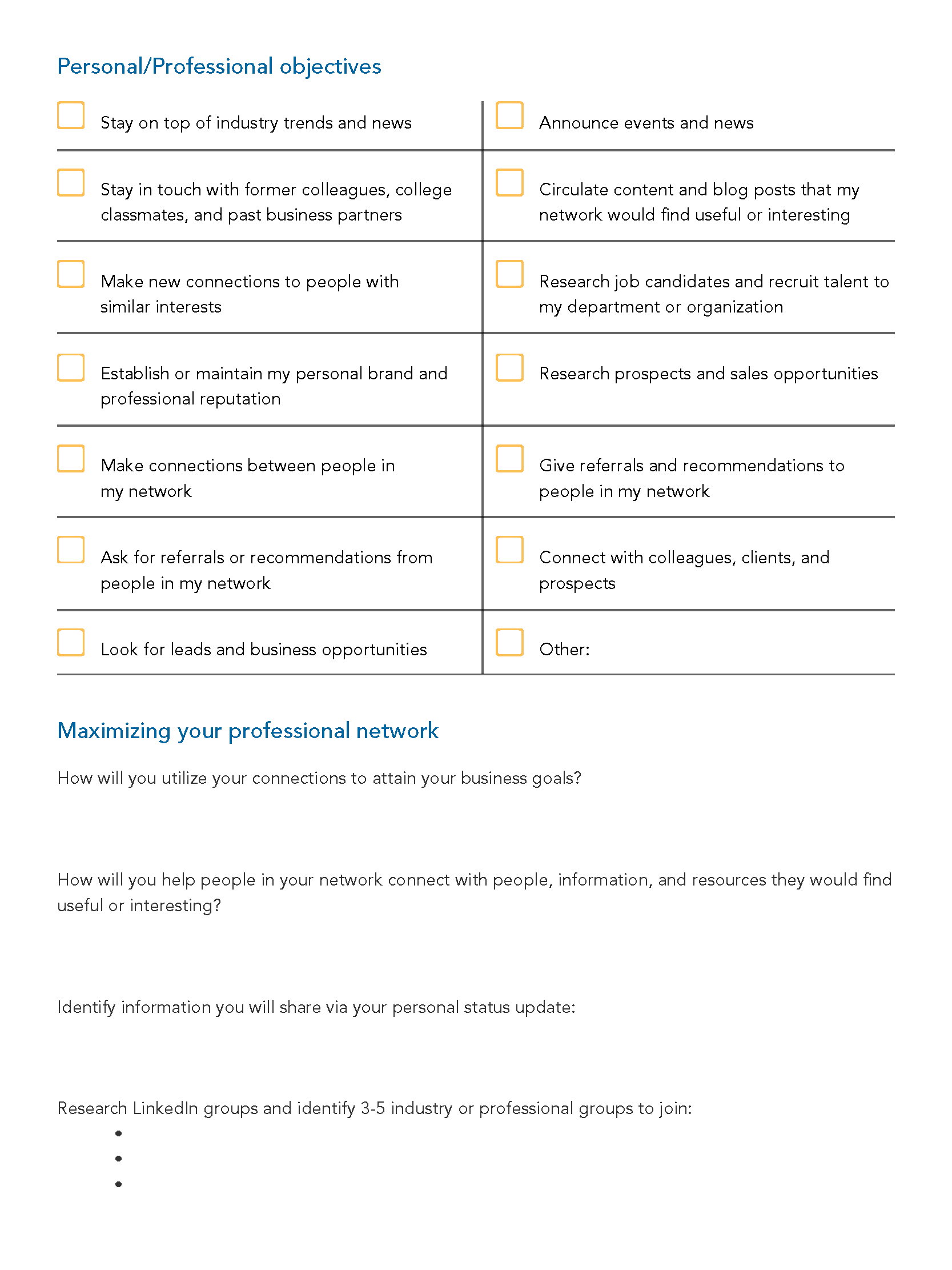 LinkedIn Strategy Worksheet - Page 3