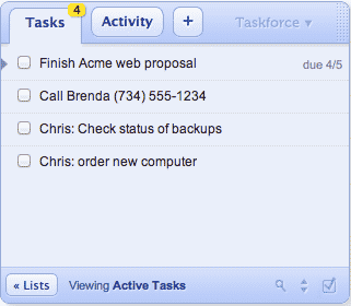 Taskforce Floating Task List