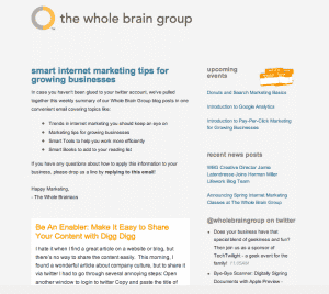 WBG RSS-to-Email Newsletter Sample