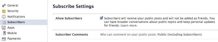 Facebook Subscribe Settings