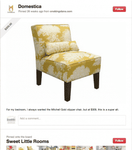 screenshot of pinterest item with price