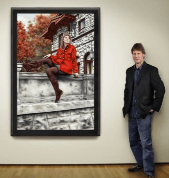 Donald Cronkhite Standing Next to Woman in a Red Coat painting