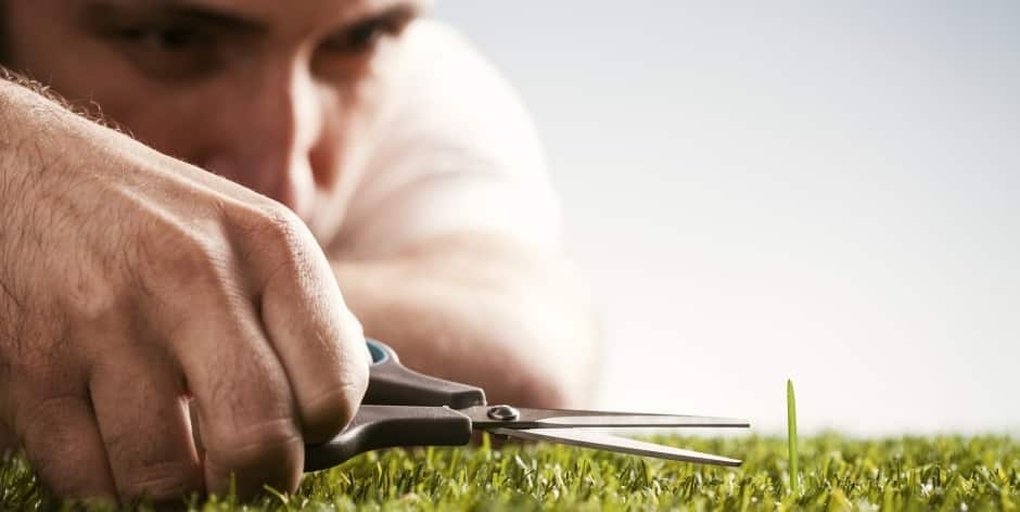 OCD man clipping grass with scissors