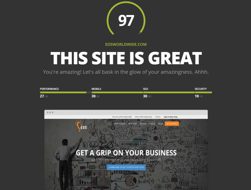 screen shot of HubSpot's website grader
