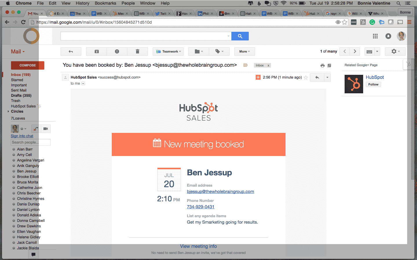 Screenshot of HubSpot meeting tool showing notification of scheduled meeting
