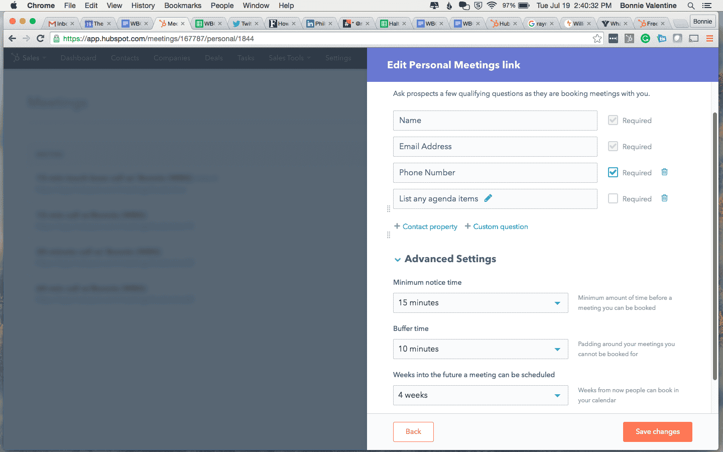 Screenshot of HubSpot meeting tool showing additional required fields in setup