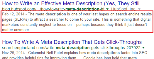 Google meta description