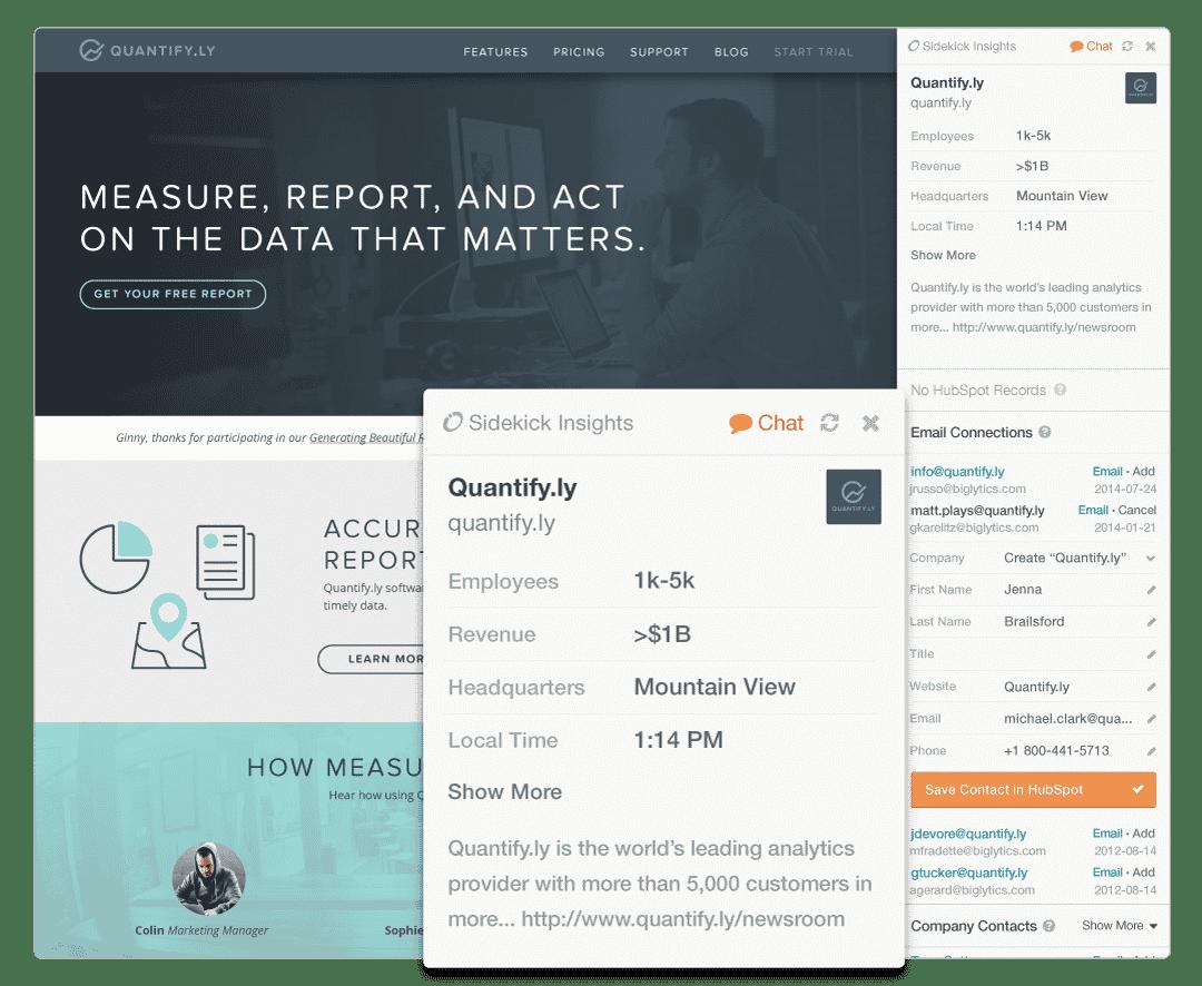 HubSpot Sidekick - Web Research View