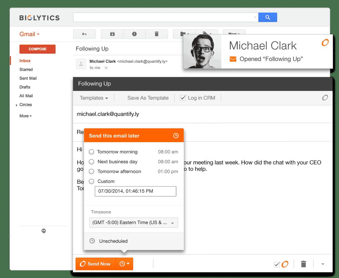 HubSpot Sidekick - Schedule Email